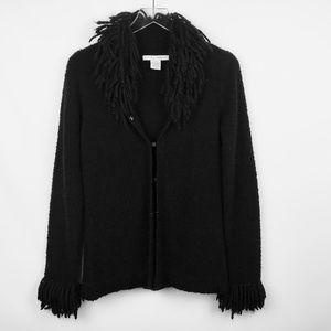 Free People black shaggy wool cardigan sweater